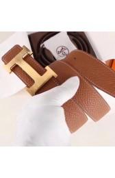 Hermes H Belt Buckle & Brown Clemence 32 MM Strap Replica HJ01232