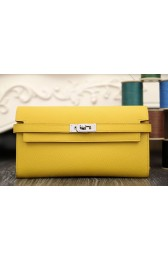 Hermes Kelly Longue Wallet In Yellow Epsom Leather HJ01208