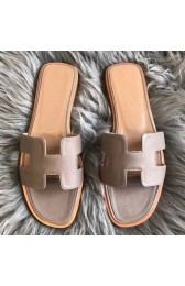 Hermes Oran Sandals In Taupe Swift Leather Replica HJ00862
