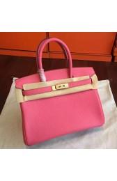 Hermes Rose Lipstick Clemence Birkin 25cm Handmade Bag Replica HJ01167