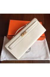 Hermes White Epsom Kelly Cut Clutch Handmade Bag HJ00389
