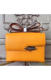 Hermes Yellow Goatskin Verrou Shoulder Handmade Bag HJ00560