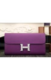 High End Hermes Constance Wallet In Purple Epsom Leather HJ00978