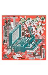 High End Hermes Corail Les Tresors D'un Artiste Silk Scarf HJ00894