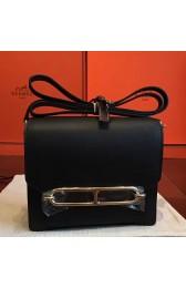 High End Hermes Mini Sac Roulis Bag In Black Swift Leather HJ00966