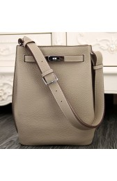 High End Hermes So Kelly 22cm Bag In Grey Leather HJ00863