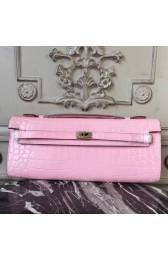 High Quality High Quality Hermes Pink Crocodile Kelly Cut Clutch Bag HJ01227