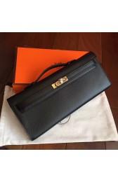 High Quality Imitation Hermes Black Epsom Kelly Cut Clutch Handmade Bag Replica HJ00816