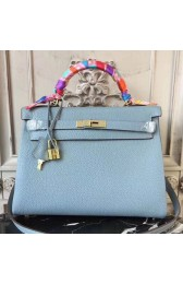 High Quality Replica Hermes Blue Lin Clemence Kelly 28cm Bag HJ00781