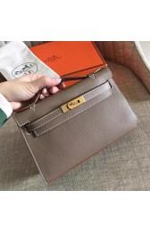 Hot Fake Perfect Hermes Etoupe Epsom Kelly Pochette Handmade Bag HJ00050