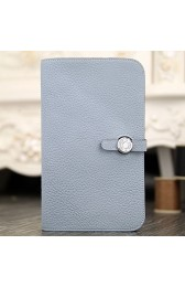 Hot Hermes Dogon Combine Wallet In Blue Lin Leather Replica HJ00710