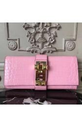 Hot High End Hermes Medor Clutch Bag In Pink Crocodile Leather HJ00858