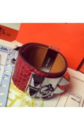 Imitation AAA Hermes Red Alligator Collier De Chien Bracelet Size S HJ00157