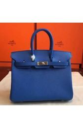 Imitation Best Quality Hermes Blue Epsom Birkin 25cm Handmade Bag HJ00903