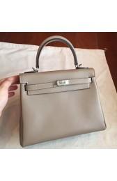 Imitation Cheap Wholesale Hermes Grey Swift Kelly 25cm Retourne Handmade Bag HJ00856