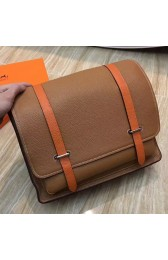 Imitation Hermes Bicolor Steve 35 Messenger Brown Bag HJ00357