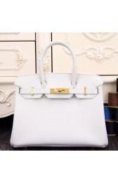 Imitation Hermes Birkin 30cm 35cm Bag In White Epsom Leather HJ00246