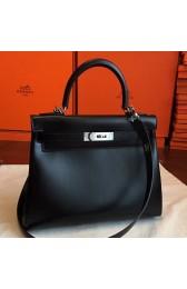Imitation Hermes Black Box Kelly Retourne 28cm Handmade Bag HJ00695