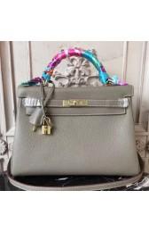Imitation Hermes Grey Clemence Kelly 32cm Retourne Bag HJ01220
