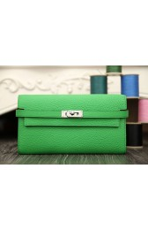 Imitation Hermes Kelly Longue Wallet In Bamboo Clemence Leather HJ00195