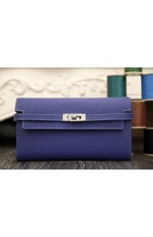 Imitation High Quality Hermes Kelly Longue Wallet In Electric Blue Epsom Leather HJ00542