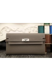 Imitation Knockoff Perfect Hermes Kelly Longue Wallet In Etoupe Epsom Leather HJ00429