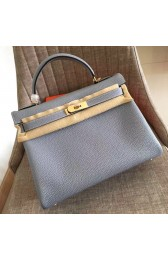 Imitation Replica Hermes Blue Lin Clemence Kelly Retourne 32cm Handmade Bag HJ00672