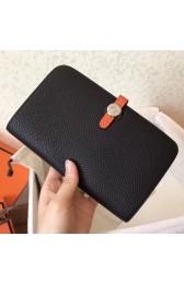 Knockoff Hermes Bicolor Dogon Duo Wallet In Black/Orange Leather HJ00494