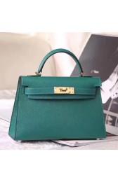 Knockoff Hermes Malachite Epsom Kelly Mini II 20cm Handmade Bag Replica HJ00302