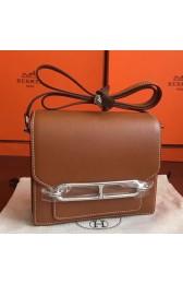 Knockoff Hermes Mini Sac Roulis Bag In Caramel Swift Leather HJ00201