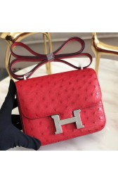 Knockoff Luxury Fake Hermes Mini Constance 18cm Red Ostrich Leather HJ00852