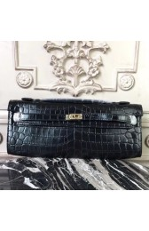 Knockoff Luxury Hermes Black Crocodile Kelly Cut Clutch Bag HJ00945