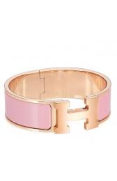 Luxury Cheap Imitation Hermes Pink Enamel Clic Clac H PM Bracelet HJ00815