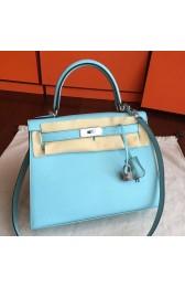 Luxury Fake 1:1 Hermes Blue Atoll Epsom Kelly Sellier 28cm Handmade Bag HJ00251