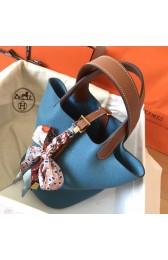 Luxury Hermes Bicolor Picotin Lock MM 22cm Blue Jean Bag HJ00137