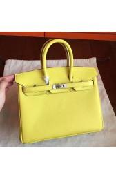 Luxury Hermes Soufre Epsom Birkin 25cm Handmade Bag HJ00898