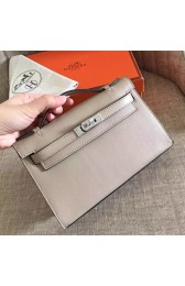 Luxury Imitation Hermes Grey Swift Kelly Pochette Handmade Bag HJ00241