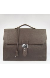 Luxury Replica Hermes Chocolate Sac A Depeches 38cm Briefcase Bag HJ01135