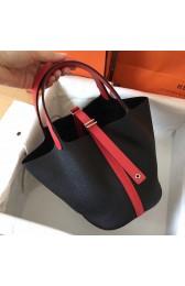 Luxury Replica Hot Hermes Bicolor Picotin Lock MM 22cm Black Bag HJ01070