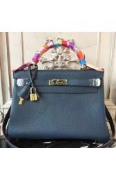 Replica 1:1 Hermes Navy Blue Clemence Kelly 32cm Retourne Bag HJ01145