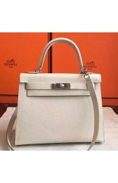 Replica 1:1 Hermes White Epsom Kelly Sellier 28cm Handmade Bag HJ00192