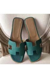 Replica AAA Hermes Oran Sandals In Malachite Epsom Leather HJ00899