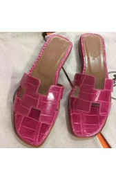 Replica Best Quality Top Quality Hermes Rose Red Crocodile Oran Sandals HJ01004