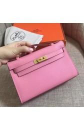 Replica Cheap Copy Hermes Pink Epsom Kelly Pochette Handmade Bag HJ00701