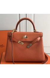 Replica Cheap Hermes Orange Clemence Kelly 25cm GHW Bag HJ01116
