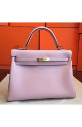 Replica Faux Hermes Rose Dragee Swift Kelly Retourne 32cm Handmade Bag HJ00523