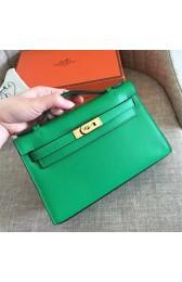 Replica Hermes Bamboo Epsom Kelly Pochette Handmade Bag HJ01124