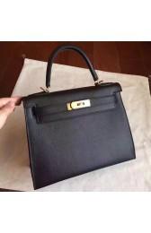 Replica Hermes Black Epsom Kelly Sellier 28cm Handmade Bag Replica HJ01142
