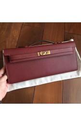 Replica Hermes Bordeaux Epsom Kelly Cut Clutch Handmade Bag HJ00738
