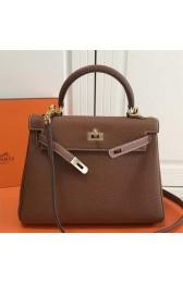 Replica Hermes Brown Clemence Kelly 25cm GHW Bag HJ00980